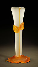 Crystal Amber Bud Vase by Tommie Rush (Art Glass Vessel)