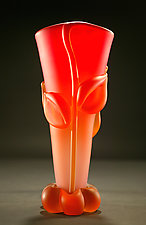 Red Amber Botanical Base: Mid-Size by Tommie Rush (Art Glass Vessel)