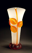 Crystal Amber Vase by Tommie Rush (Art Glass Vessel)