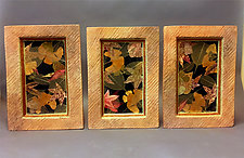 Autumn Leaf Triptych by Christine Adcock and Michael Adcock (Ceramic Wall Sculpture)