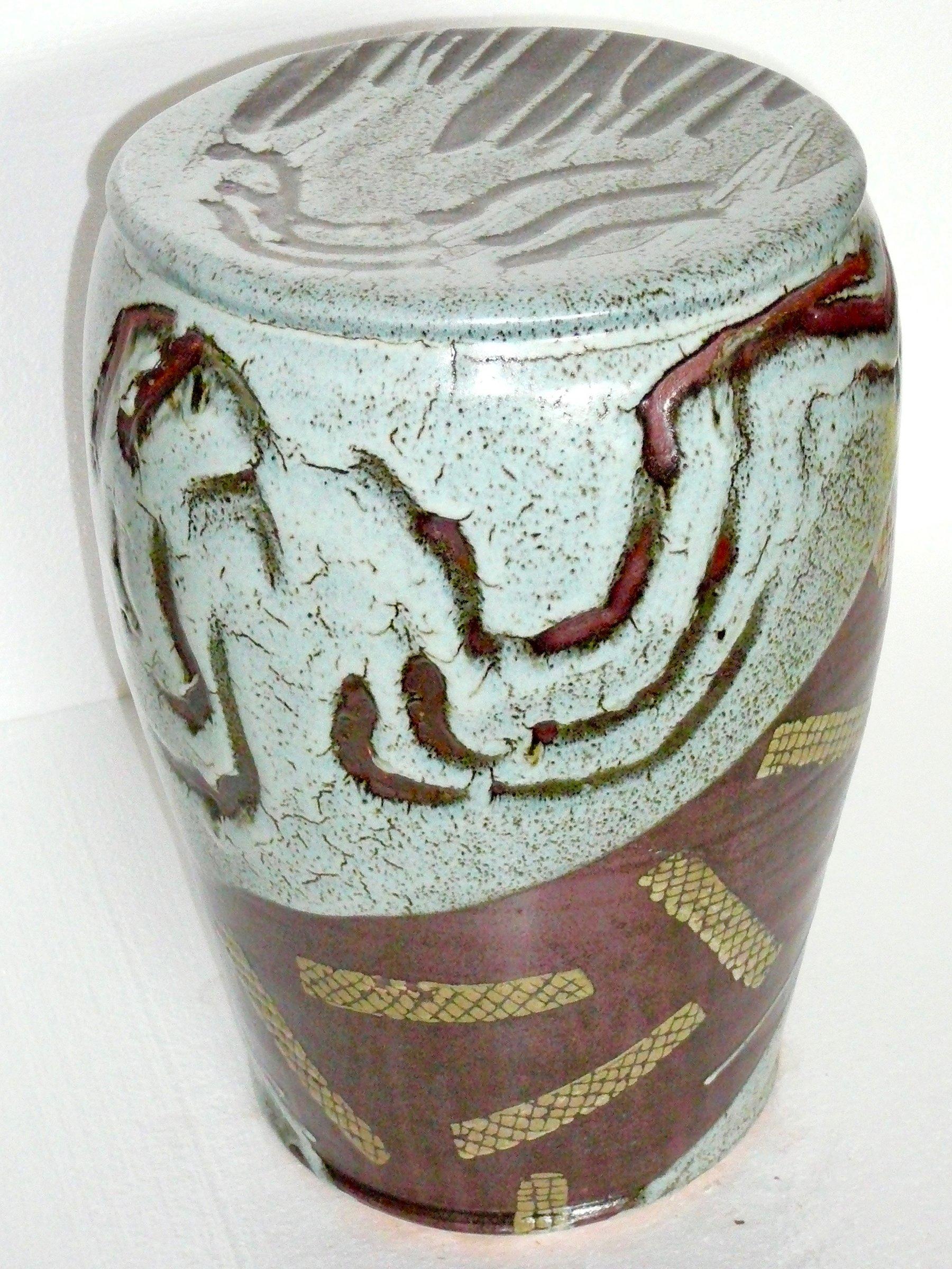 Ash Glaze Garden Seat By Michael Jones Ceramic Stool