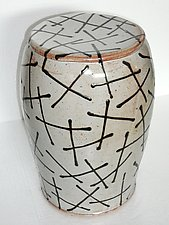 Pale Shino Glaze Garden Stool by Michael Jones (Ceramic Stool)