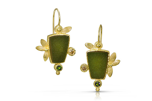 Green Drusy Earrings