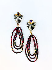 Cast Macrame Triangle Earrings by Ilene Schwartz (Gold, Silver & Stone Earrings)