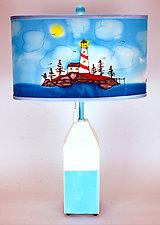 Buoy Oval Shade Lamp by Stuart Loten (Mixed-Media Table Lamp)