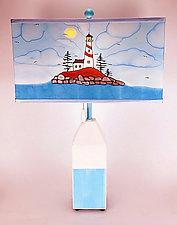 Buoy Rectangle Shade Lamp by Stuart Loten (Mixed-Media Table Lamp)