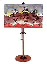 Mountain Rectangle Shade Lamp by Stuart Loten (Mixed-Media Table Lamp)