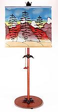 Mountain Drum Shade Lamp 2 by Stuart Loten (Mixed-Media Table Lamp)