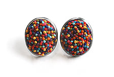 Button Earrings #227 by David Forlano and Steve Ford (Gold, Silver & Polymer Earrings)