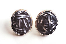 Button Earrings #303 by David Forlano and Steve Ford (Gold, Silver & Polymer Earrings)