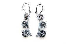 Pebble Earrings #203 by David Forlano and Steve Ford (Silver & Polymer Earrings)