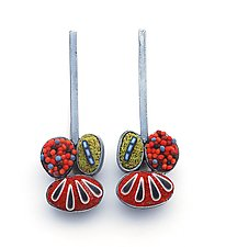 Pebble Earrings #212 by David Forlano and Steve Ford (Silver & Polymer Earrings)