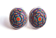 Button Earrings #297 by David Forlano and Steve Ford (Silver & Polymer Earrings)