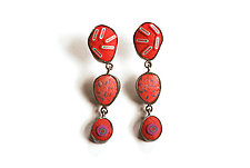 Pebble Earrings #379 by David Forlano and Steve Ford (Gold & Silver Earrings)