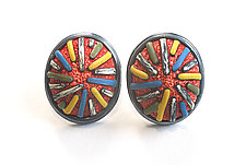 Button Earrings #276 by David Forlano and Steve Ford (Gold, Silver & Polymer Earrings)