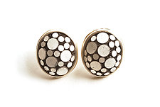Button Earrings #310 by David Forlano and Steve Ford (Silver & Polymer Earrings)