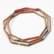 Salmon & Ochre Small Straw Necklace by David Forlano and Steve Ford (Paper Necklace)