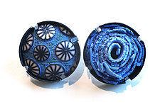 Button Earrings #259 by David Forlano and Steve Ford (Gold, Silver & Polymer Earrings)
