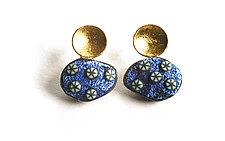 Pebble Earrings #402 by David Forlano and Steve Ford (Gold & Silver Earrings)