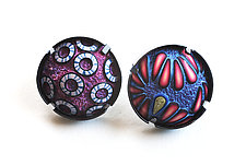 Button Earrings #320 by David Forlano and Steve Ford (Silver & Polymer Earrings)