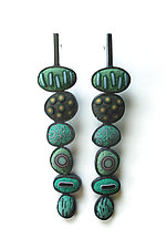 Pebble Earrings #382 by David Forlano and Steve Ford (Gold & Silver Earrings)