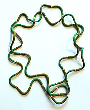 Squiggle Necklace - Green by David Forlano and Steve Ford (Polymer Necklace)