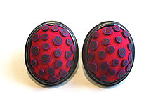Button Earrings #295 by David Forlano and Steve Ford (Gold, Silver & Polymer Earrings)