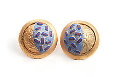 Button Earrings #264 by David Forlano and Steve Ford (Gold, Silver & Polymer Earrings)