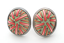 Button Earrings #187 by David Forlano and Steve Ford (Gold, Silver & Polymer Earrings)