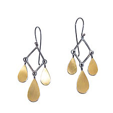 Teardrop Chandelier Earrings by Elisa Bongfeldt (Gold & Silver Earrings)