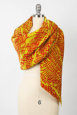 Crimson Gold Pleated Scarf by Britt Rynearson  (Silk Scarf)