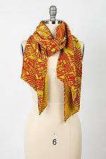 Crimson Gold Pleated Scarf by Britt Rynearson  (Silk Scarf)