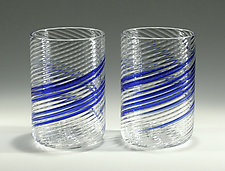 Blue Stripe Big Glasses by Tom Stoenner (Art Glass Tumblers)