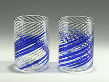Blue Stripe Little Glasses by Tom Stoenner (Art Glass Tumblers)