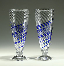 Blue Stripe Soda Glasses by Tom Stoenner (Art Glass Tumblers)