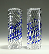 Blue Stripe Iced-Tea Glasses by Tom Stoenner (Art Glass Tumblers)