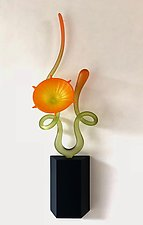Citrus Tangerine Flower in Bloom by Warner Whitfield and Beatriz Kelemen (Art Glass Wall Sculpture)