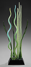Milonga, Emerald by Warner Whitfield and Beatriz Kelemen (Art Glass Sculpture)
