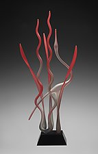 Dancing In The Marsh- Ruby by Warner Whitfield and Beatriz Kelemen (Art Glass Sculpture)