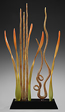 Underwater Sea Garden with Caramel Twist by Warner Whitfield and Beatriz Kelemen (Art Glass Sculpture)