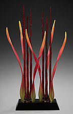 Tango Dancers, Ruby by Warner Whitfield and Beatriz Kelemen (Art Glass Sculpture)