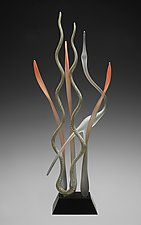 Dancing In the Marsh-Mystic Autumn First Light by Warner Whitfield and Beatriz Kelemen (Art Glass Sculpture)