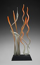 Great Mystic Autumn Heron In Marsh by Warner Whitfield and Beatriz Kelemen (Art Glass Sculpture)
