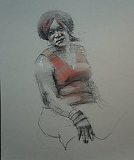Zwanda by Cathy Locke (Charcoal & Pastel Drawing)