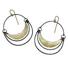 Double Arc Hatch Earrings by Lisa Crowder (Gold & Silver Earrings)