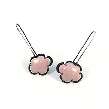 Pink Enamel Cloud Earrings by Lisa Crowder (Enameled Earrings)