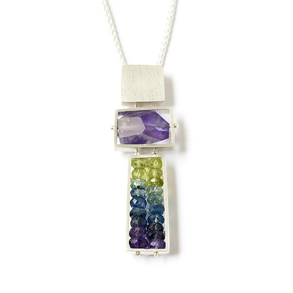Totem Necklace in Purple, Green, and Blue