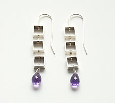Mini Square Earrings with Amethyst Teardrop by Ashka Dymel (Silver & Stone Earrings)