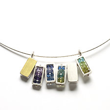 Six Rectangles Necklace in Green, Blue, and Purple by Ashka Dymel (Silver & Stone Necklace)