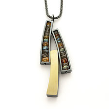 Oxidized Three Wedge Necklace by Ashka Dymel (Silver & Stone Necklace)